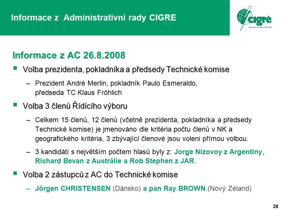 28 Informace z Administrativní rady CIGRE Informace z AC 26.8.2008  Volba prezidenta, pokladníka a předsedy Technické komise –Prezident André Merlin, pokladník Paulo Esmeraldo, předseda TC Klaus Fröhlich  Volba 3 členů Řídícího výboru –Celkem 15 členů, 12 členů (včetně prezidenta, pokladníka a předsedy Technické komise) je jmenováno dle kritéria počtu členů v NK a geografického kritéria, 3 zbývající členové jsou voleni přímou volbou.