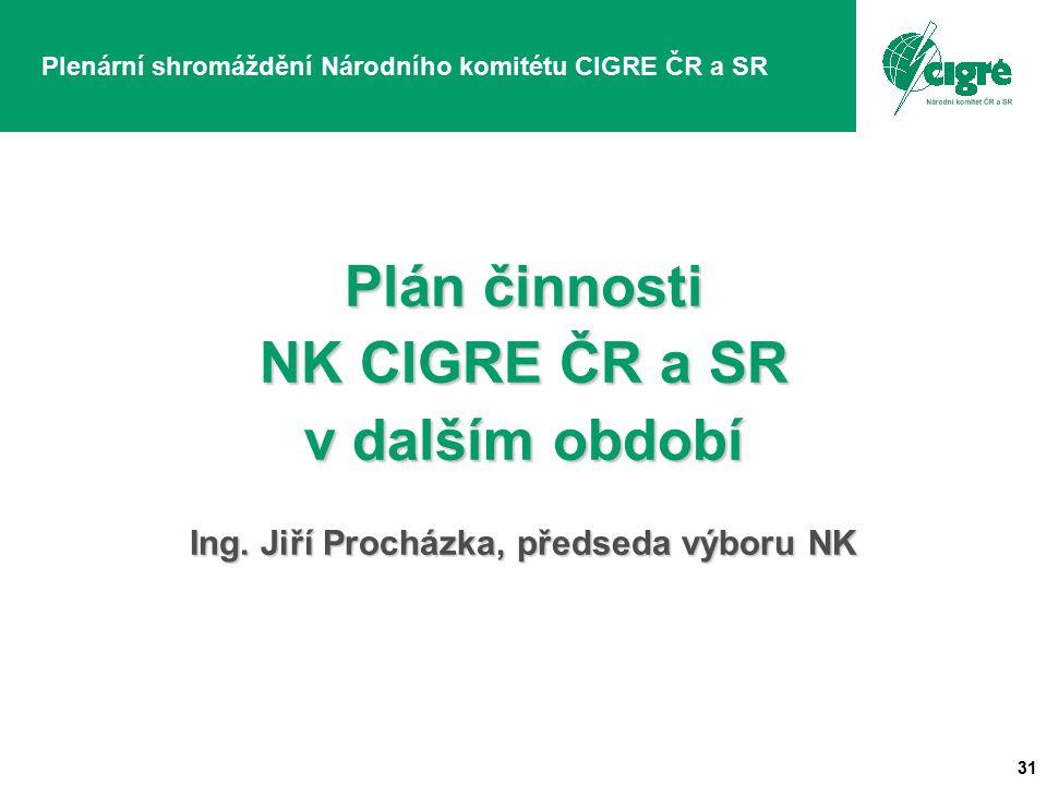 31 Plenární shromáždění Národního komitétu CIGRE ČR a SR Plán činnosti NK CIGRE ČR a SR v dalším období Ing.