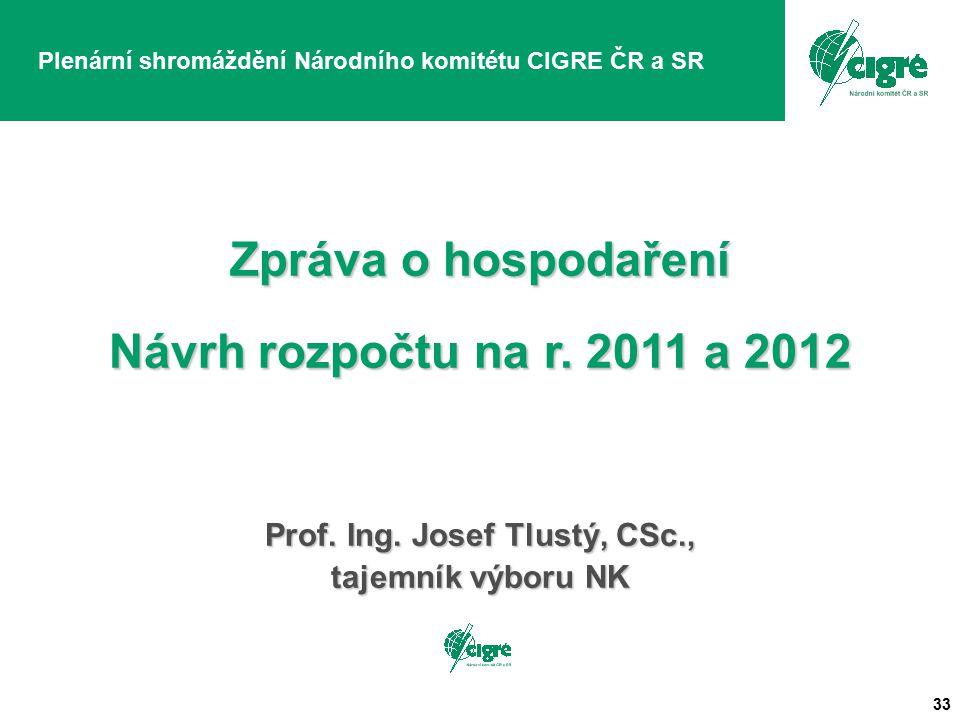 33 Plenární shromáždění Národního komitétu CIGRE ČR a SR Zpráva o hospodaření Návrh rozpočtu na r.