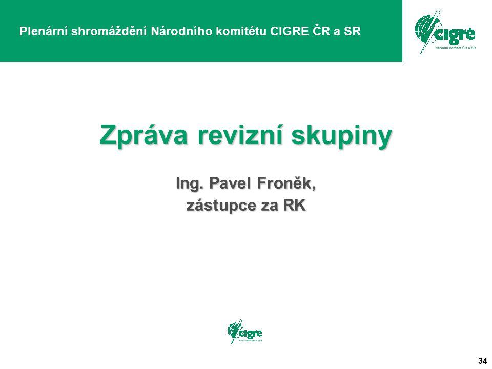 34 Plenární shromáždění Národního komitétu CIGRE ČR a SR Zpráva revizní skupiny Ing. Pavel Froněk, zástupce za RK