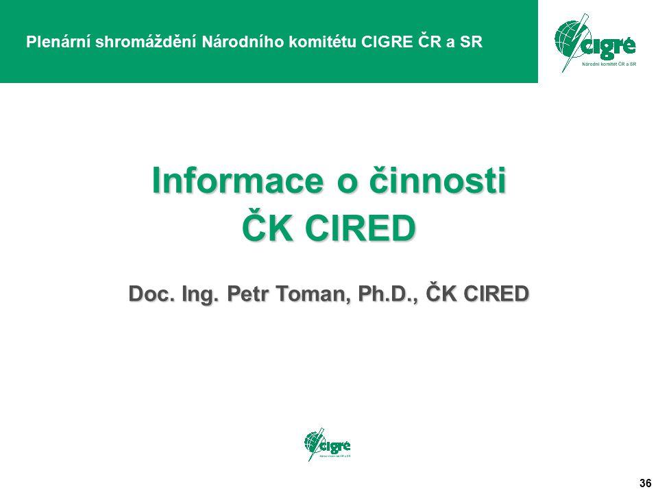 36 Plenární shromáždění Národního komitétu CIGRE ČR a SR Informace o činnosti ČK CIRED Doc. Ing. Petr Toman, Ph.D., ČK CIRED
