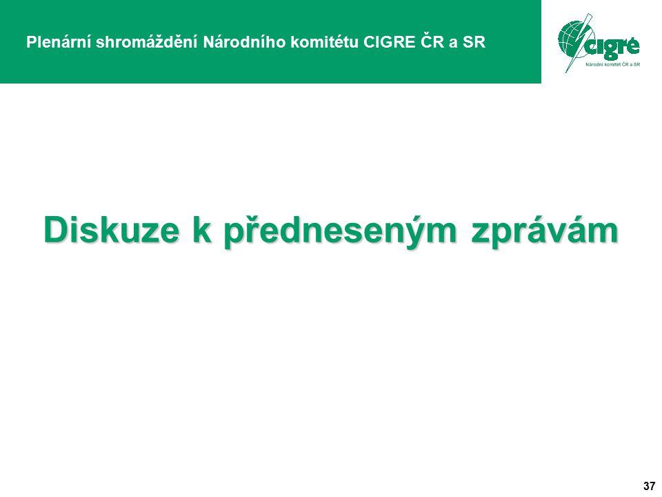 37 Plenární shromáždění Národního komitétu CIGRE ČR a SR Diskuze k předneseným zprávám