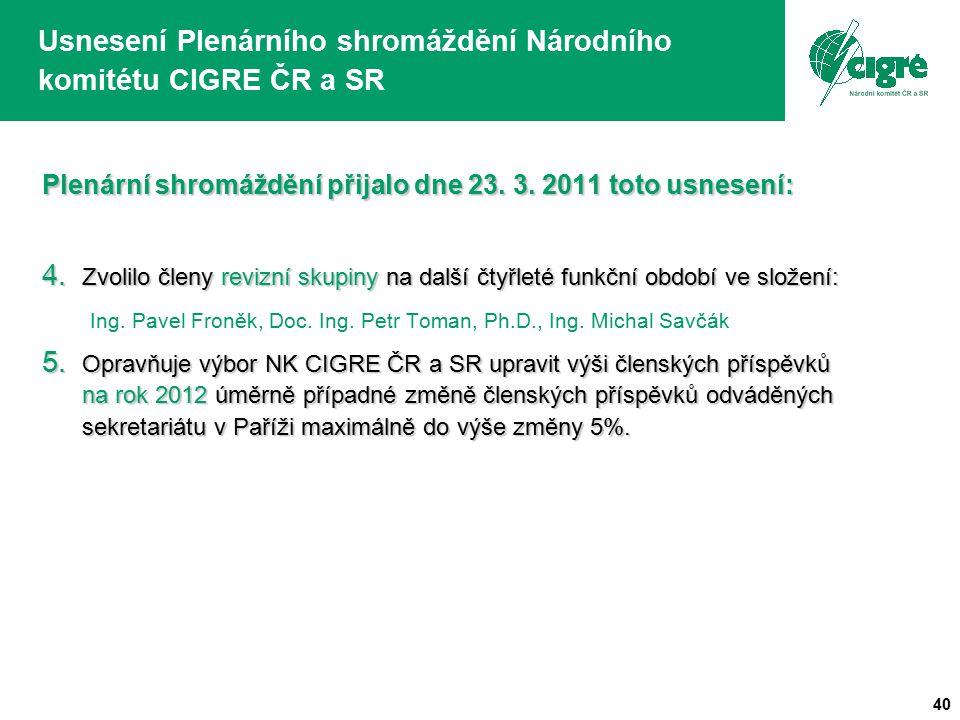 40 Usnesení Plenárního shromáždění Národního komitétu CIGRE ČR a SR Plenární shromáždění přijalo dne 23. 3. 2011 toto usnesení: 4. Zvolilo členy reviz