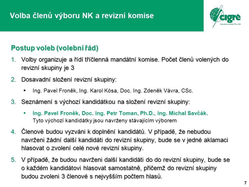 7 Volba členů výboru NK a revizní komise Postup voleb (volební řád) 1.Volby organizuje a řídí tříčlenná mandátní komise. Počet členů volených do reviz