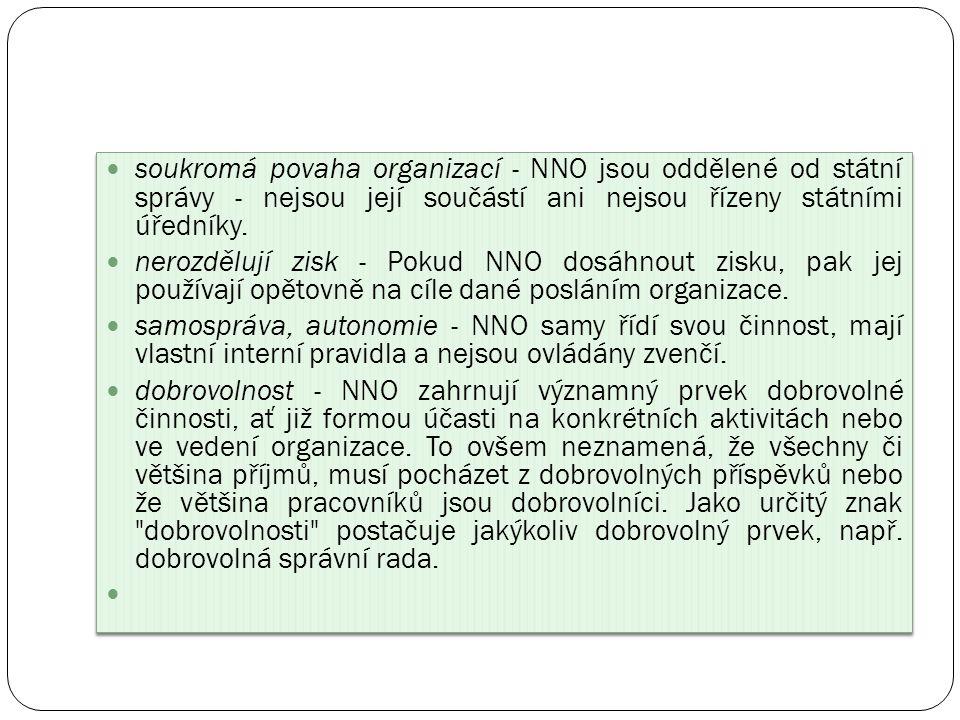 soukromá povaha organizací - NNO jsou oddělené od státní správy - nejsou její součástí ani nejsou řízeny státními úředníky.
