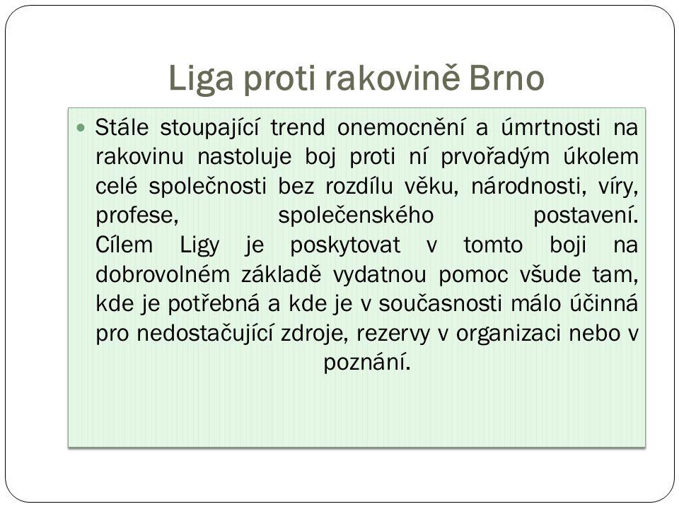 Liga proti rakovině Brno Stále stoupající trend onemocnění a úmrtnosti na rakovinu nastoluje boj proti ní prvořadým úkolem celé společnosti bez rozdílu věku, národnosti, víry, profese, společenského postavení.