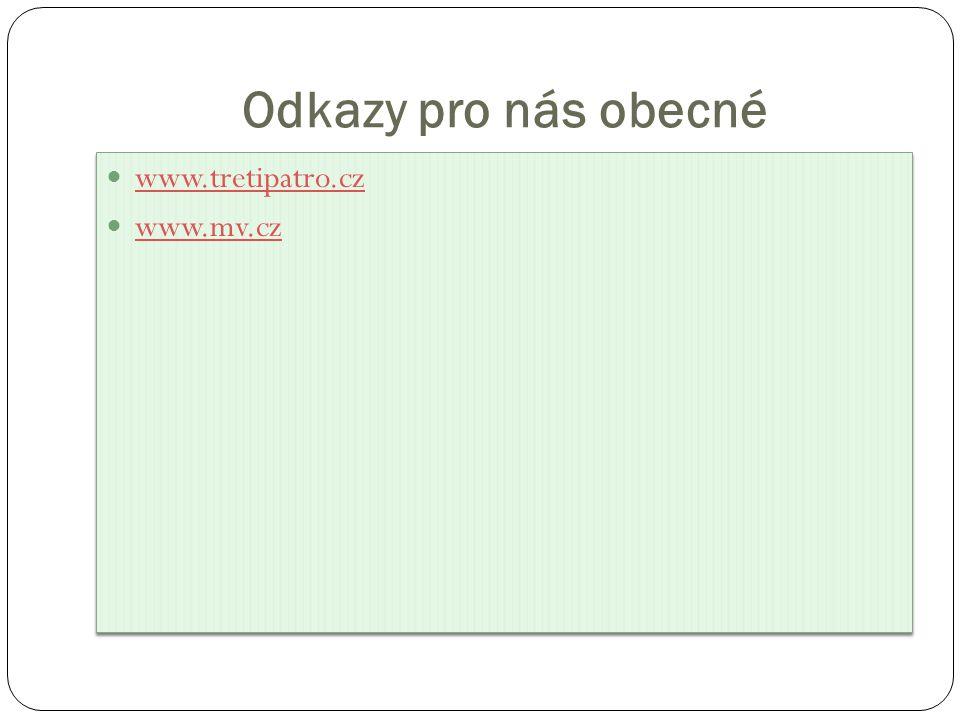 Odkazy pro nás obecné www.tretipatro.cz www.mv.cz www.tretipatro.cz www.mv.cz