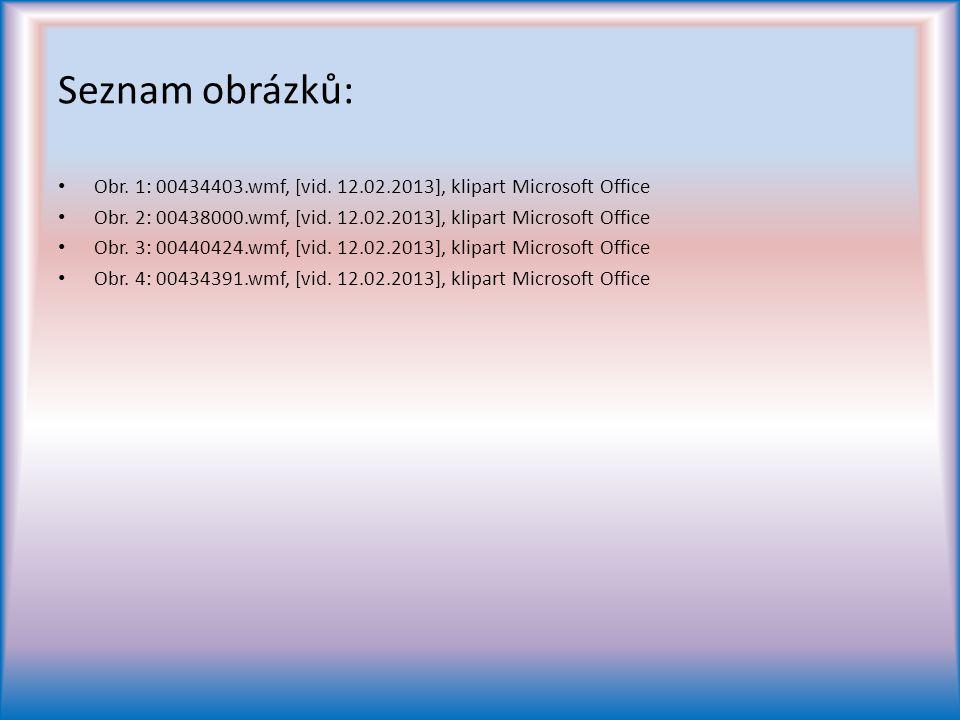 Seznam obrázků: Obr.1: 00434403.wmf, [vid. 12.02.2013], klipart Microsoft Office Obr.