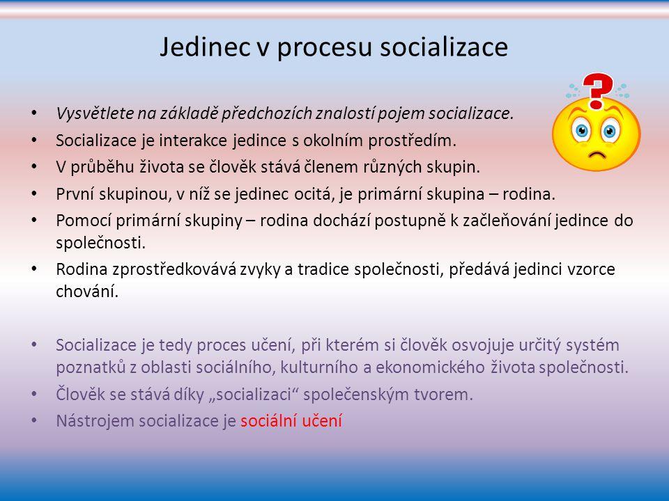 Jedinec v procesu socializace Vysvětlete na základě předchozích znalostí pojem socializace.