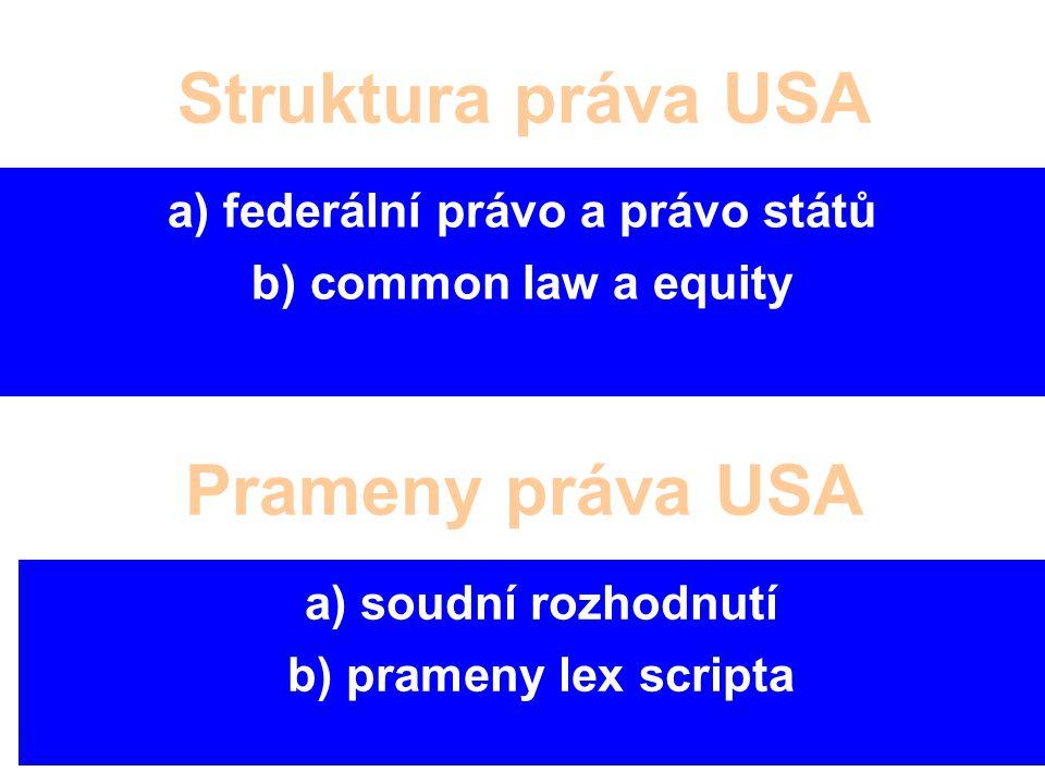 Struktura práva USA a) federální právo a právo států b) common law a equity Prameny práva USA a) soudní rozhodnutí b) prameny lex scripta