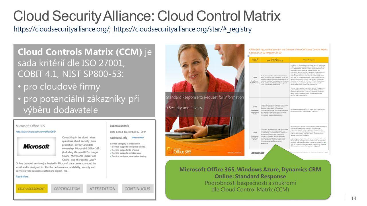 14 Cloud Controls Matrix (CCM) je sada kritérií dle ISO 27001, COBIT 4.1, NIST SP800-53: pro cloudové firmy pro potenciální zákazníky při výběru dodav
