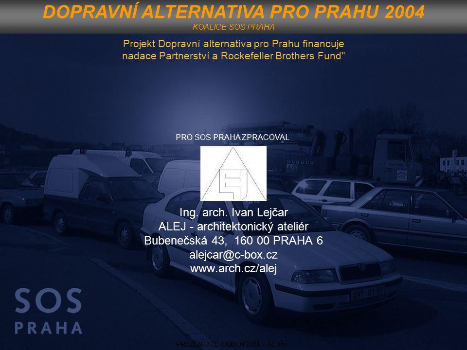 DOPRAVNÍ ALTERNATIVA PRO PRAHU 2004 KOALICE SOS PRAHA PREZENTACE DUBEN 2004 – SENÁT Projekt Dopravní alternativa pro Prahu financuje nadace Partnerstv