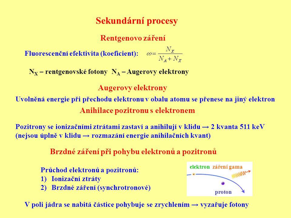 Celkové pohlcení záření gama v látce Přehled hlavních procesů σ = σ F + σ C + σ P Celkový účinný průřez: Vynásobíme počtem atomů objemovou jednotku N: kde N a – Avogadrova konstanta, A – atomová hmotnost, ρ – hustota materiálu μ – totální absorpční koeficient – převrácená hodnota střední volné dráhy fotonu v materiálu Foton může ztratit velkou část (i veškerou) svou energii v jednom aktu → svazek ubývá, nemá pevný dolet Vztah pro ubývání fotonů: Pro sloučeninu nebo směs platí Braggovo pravidlo: Celkový účinný průřez dI = -μ  I  dx