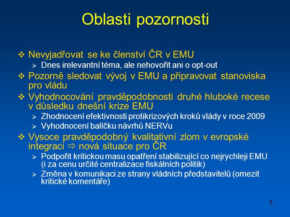 5 Oblasti pozornosti  Nevyjadřovat se ke členství ČR v EMU  Dnes irelevantní téma, ale nehovořit ani o opt-out  Pozorně sledovat vývoj v EMU a připravovat stanoviska pro vládu  Vyhodnocování pravděpodobnosti druhé hluboké recese v důsledku dnešní krize EMU  Zhodnocení efektivnosti protikrizových kroků vlády v roce 2009  Vyhodnocení balíčku návrhů NERVu  Vysoce pravděpodobný kvalitativní zlom v evropské integraci  nová situace pro ČR  Podpořit kritickou masu opatření stabilizující co nejrychleji EMU (i za cenu určité centralizace fiskálních politik)  Změna v komunikaci ze strany vládních představitelů (omezit kritické komentáře)