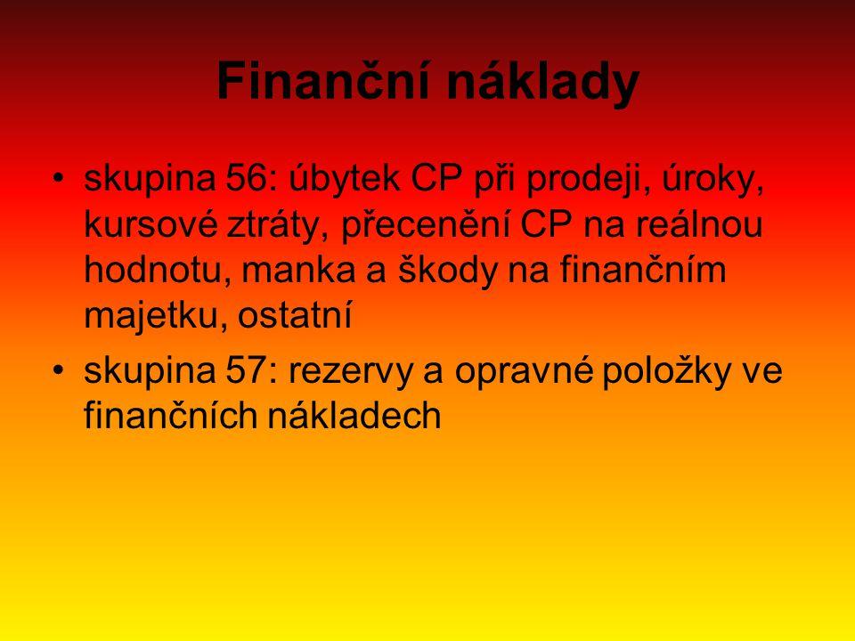 Finanční náklady skupina 56: úbytek CP při prodeji, úroky, kursové ztráty, přecenění CP na reálnou hodnotu, manka a škody na finančním majetku, ostatn