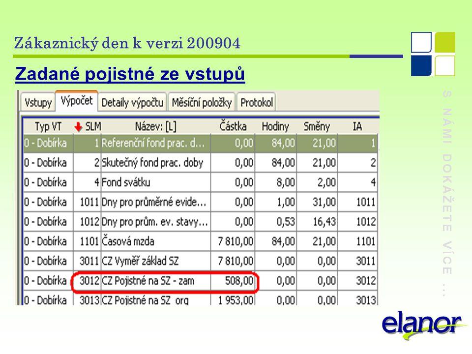 S NÁMI DOKÁŽETE VÍCE... Zákaznický den k verzi 200904 Zadané pojistné ze vstupů