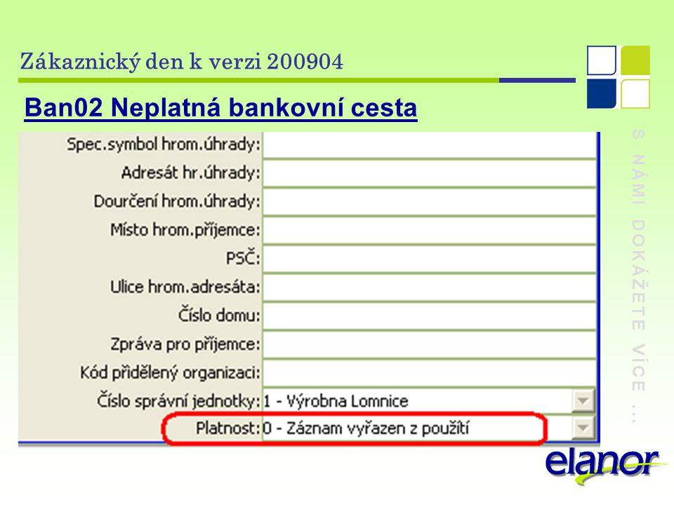 S NÁMI DOKÁŽETE VÍCE... Zákaznický den k verzi 200904 Ban02 Neplatná bankovní cesta
