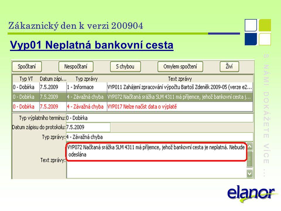 S NÁMI DOKÁŽETE VÍCE... Zákaznický den k verzi 200904 Vyp01 Neplatná bankovní cesta