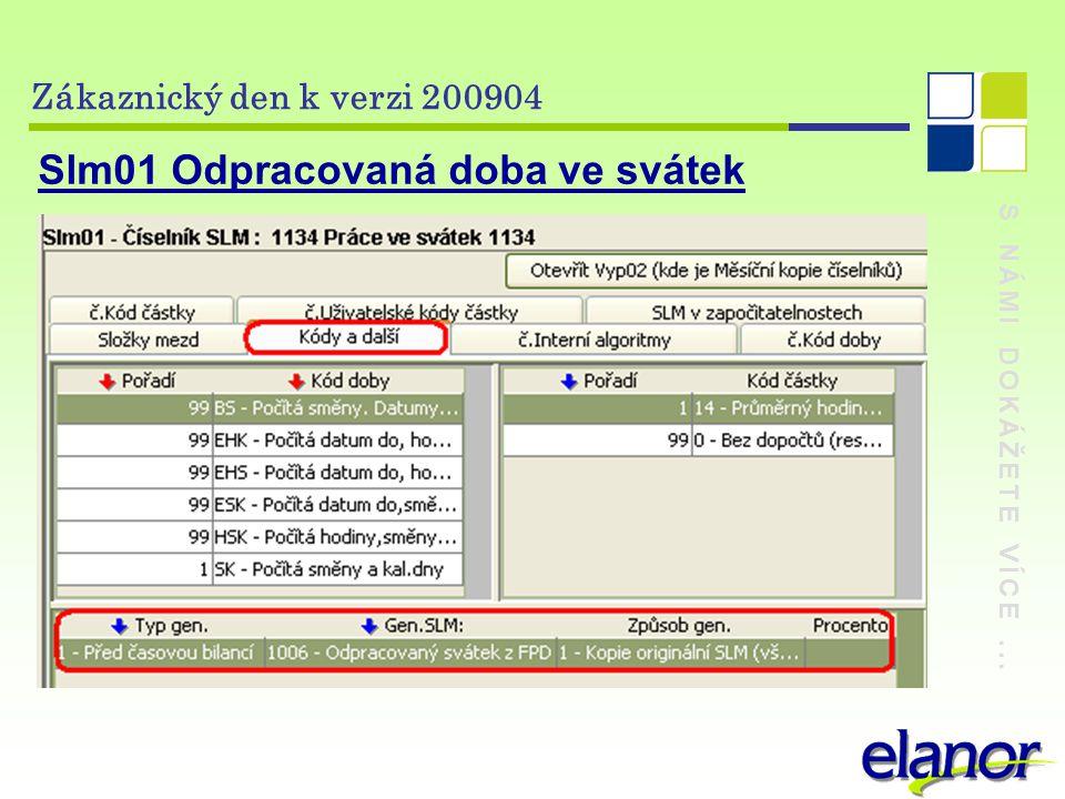 S NÁMI DOKÁŽETE VÍCE... Zákaznický den k verzi 200904 Slm01 Odpracovaná doba ve svátek