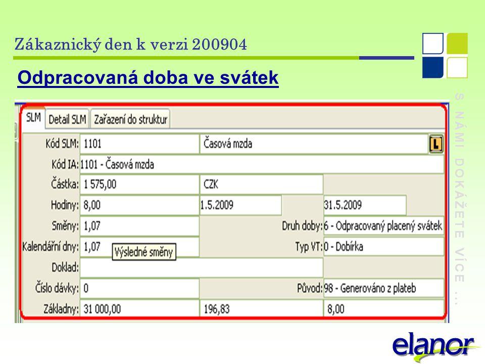 S NÁMI DOKÁŽETE VÍCE... Zákaznický den k verzi 200904 Odpracovaná doba ve svátek