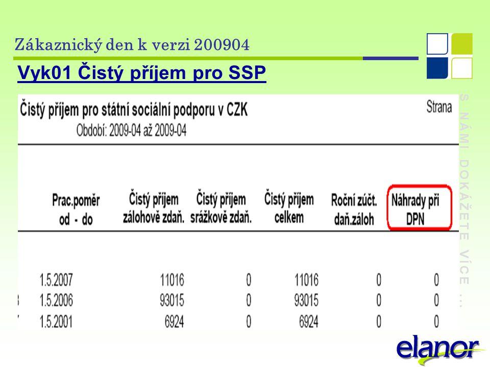 S NÁMI DOKÁŽETE VÍCE... Zákaznický den k verzi 200904 Vyk01 Čistý příjem pro SSP