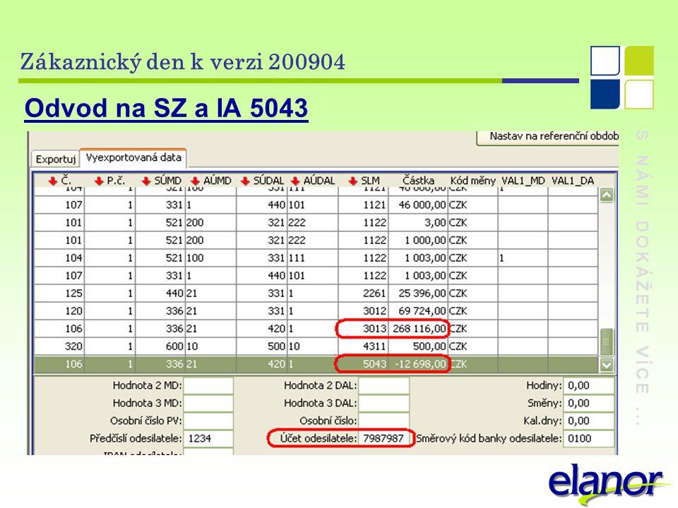 S NÁMI DOKÁŽETE VÍCE... Zákaznický den k verzi 200904 Odvod na SZ a IA 5043