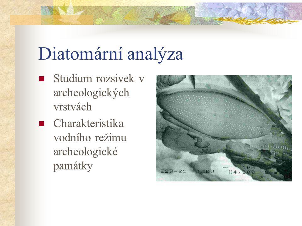 Diatomární analýza Studium rozsivek v archeologických vrstvách Charakteristika vodního režimu archeologické památky