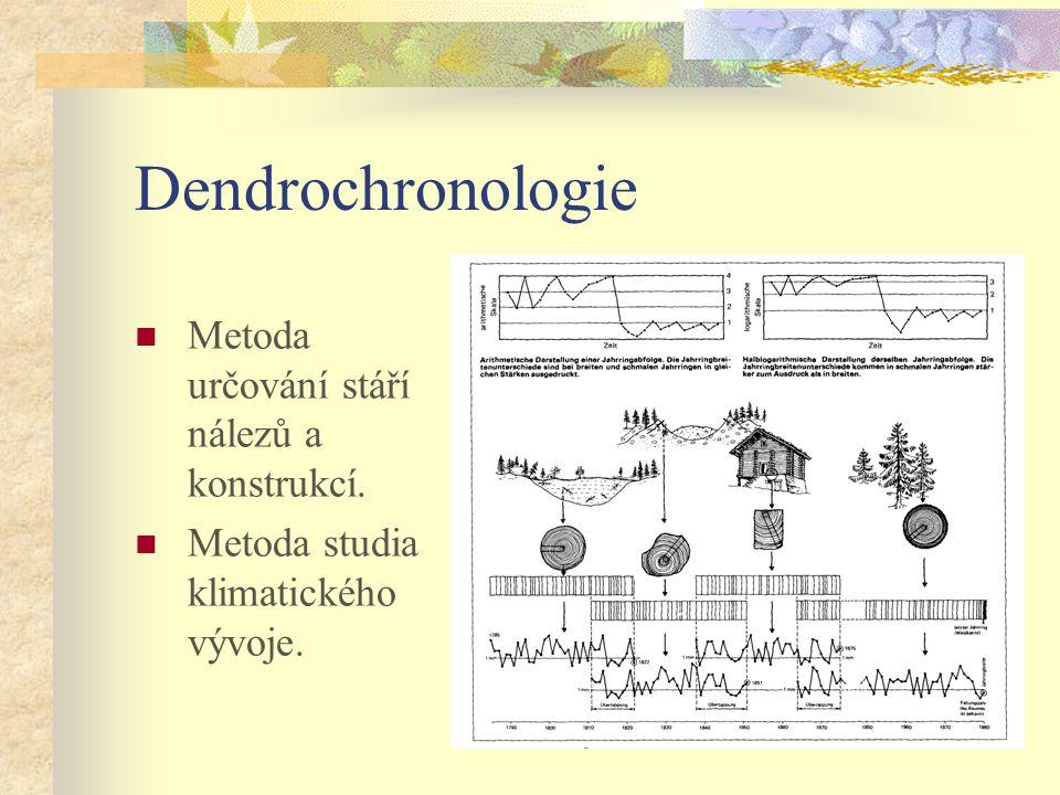 Dendrochronologie Metoda určování stáří nálezů a konstrukcí. Metoda studia klimatického vývoje.