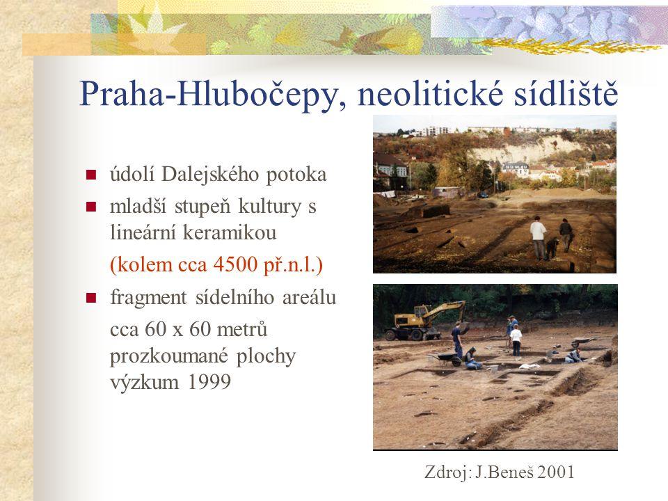 Praha-Hlubočepy, neolitické sídliště údolí Dalejského potoka mladší stupeň kultury s lineární keramikou (kolem cca 4500 př.n.l.) fragment sídelního ar