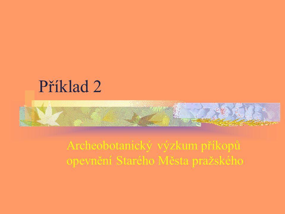 Příklad 2 Archeobotanický výzkum příkopů opevnění Starého Města pražského