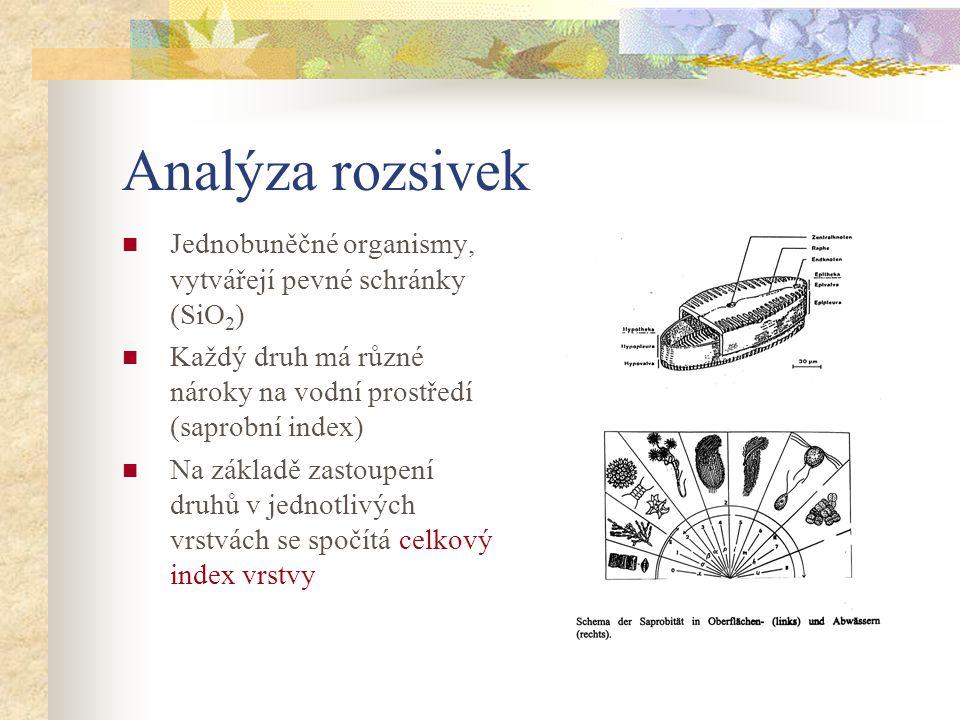 Analýza rozsivek Jednobuněčné organismy, vytvářejí pevné schránky (SiO 2 ) Každý druh má různé nároky na vodní prostředí (saprobní index) Na základě z