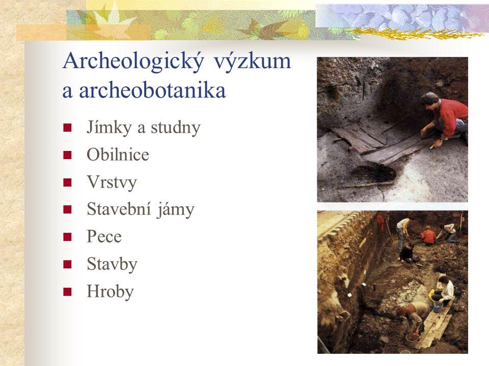 Archeologický výzkum a archeobotanika Jímky a studny Obilnice Vrstvy Stavební jámy Pece Stavby Hroby
