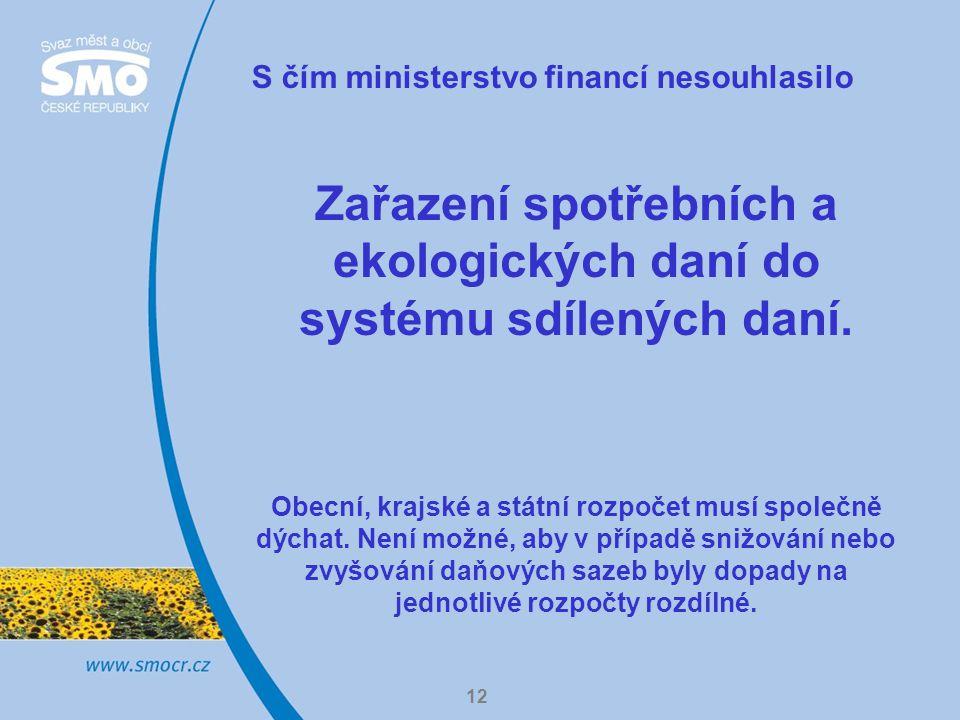 12 S čím ministerstvo financí nesouhlasilo Zařazení spotřebních a ekologických daní do systému sdílených daní.