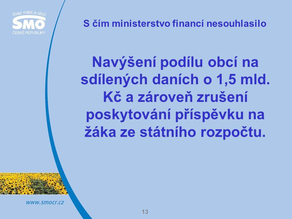 13 S čím ministerstvo financí nesouhlasilo Navýšení podílu obcí na sdílených daních o 1,5 mld.