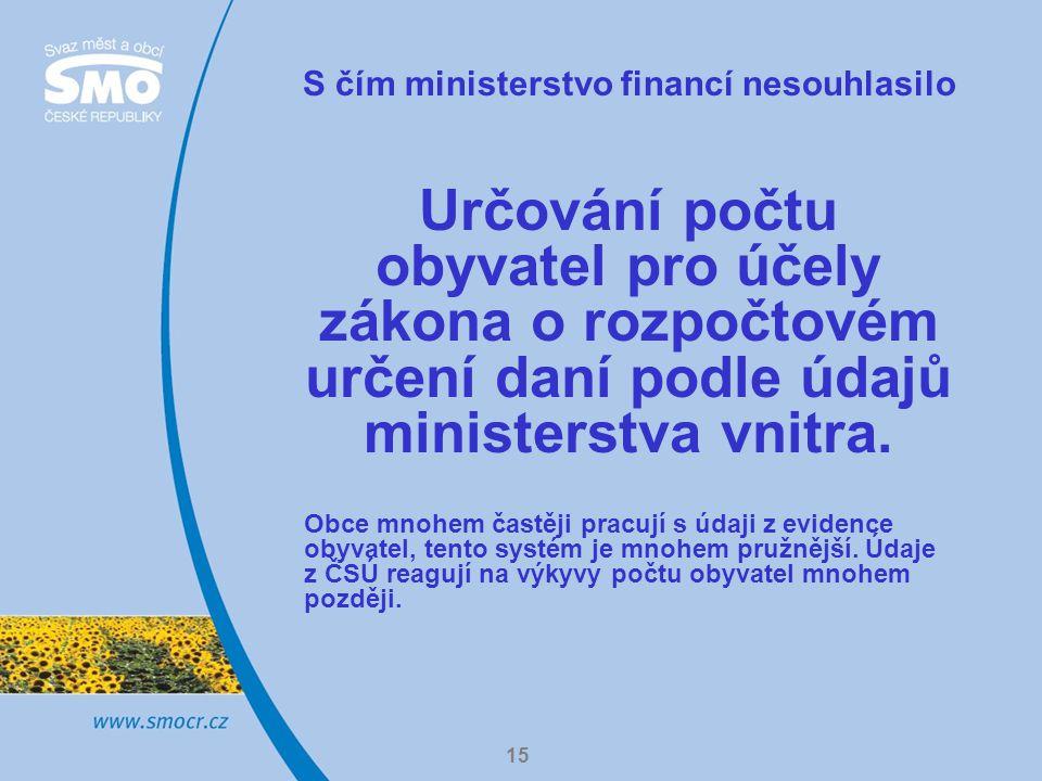 15 S čím ministerstvo financí nesouhlasilo Určování počtu obyvatel pro účely zákona o rozpočtovém určení daní podle údajů ministerstva vnitra.