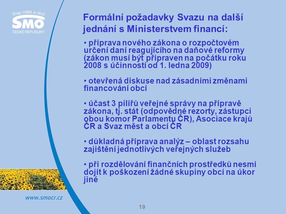 19 Formální požadavky Svazu na další jednání s Ministerstvem financí: příprava nového zákona o rozpočtovém určení daní reagujícího na daňové reformy (zákon musí být připraven na počátku roku 2008 s účinností od 1.