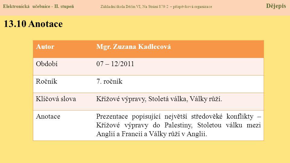 Elektronická učebnice - II. stupeň Základní škola Děčín VI, Na Stráni 879/2 – příspěvková organizace Dějepis 13.10 Anotace AutorMgr. Zuzana Kadlecová