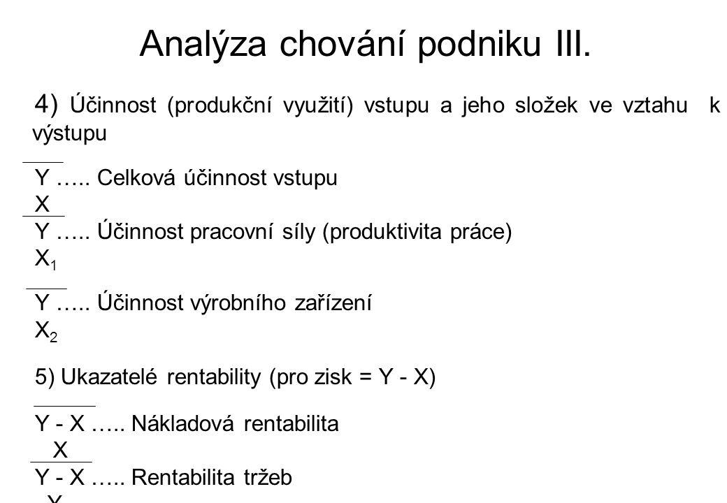 Analýza chování podniku III. 4) Účinnost (produkční využití) vstupu a jeho složek ve vztahu k výstupu Y ….. Celková účinnost vstupu X Y ….. Účinnost p