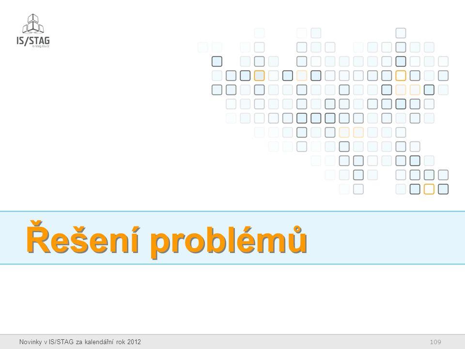 109 Novinky v IS/STAG za kalendářní rok 2012 Řešení problémů
