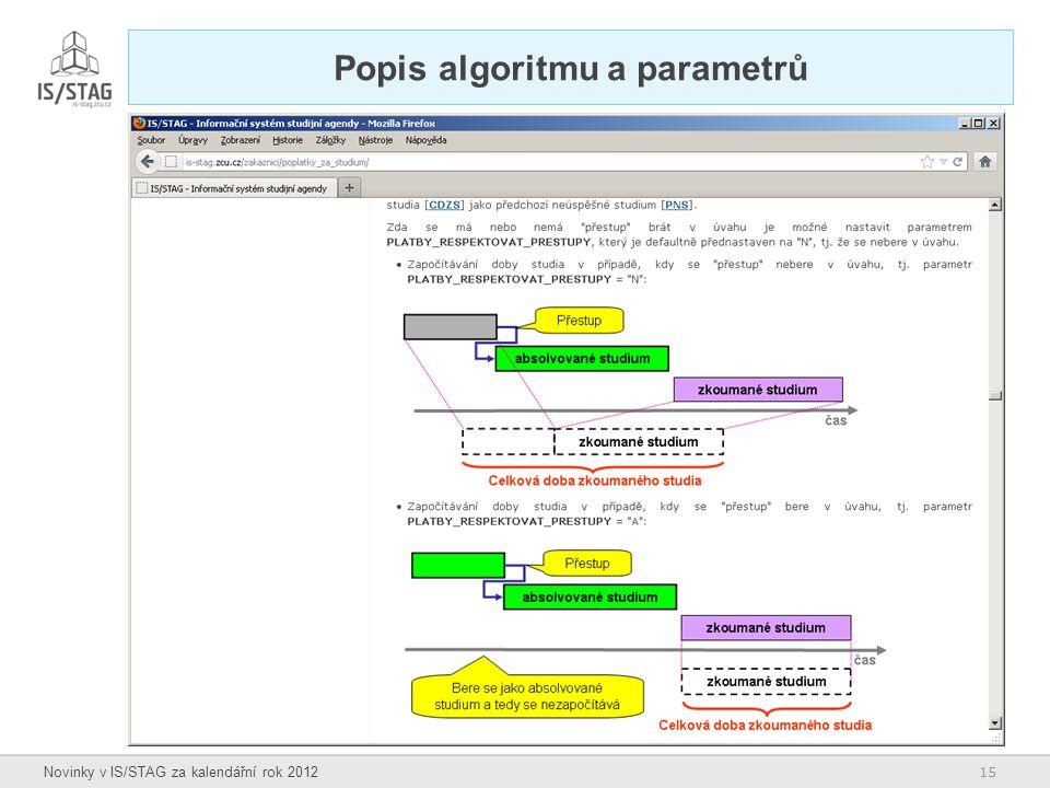 15 Novinky v IS/STAG za kalendářní rok 2012 Popis algoritmu a parametrů