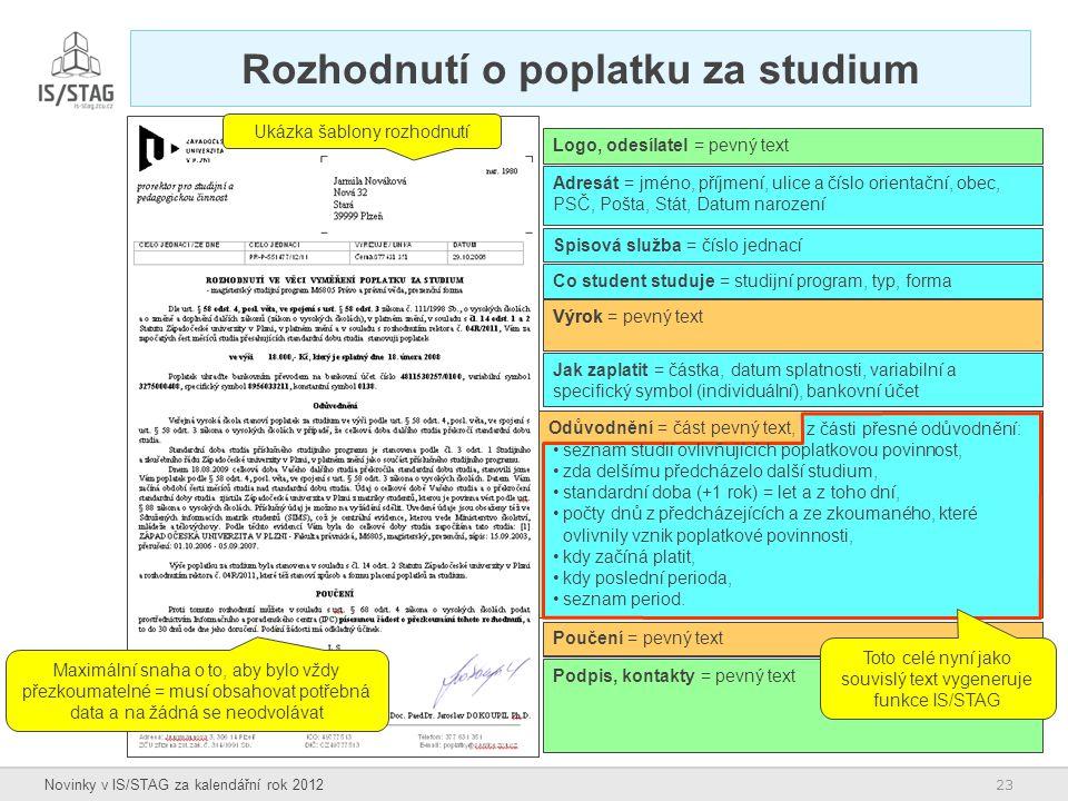 23 Novinky v IS/STAG za kalendářní rok 2012 Rozhodnutí o poplatku za studium Maximální snaha o to, aby bylo vždy přezkoumatelné = musí obsahovat potře