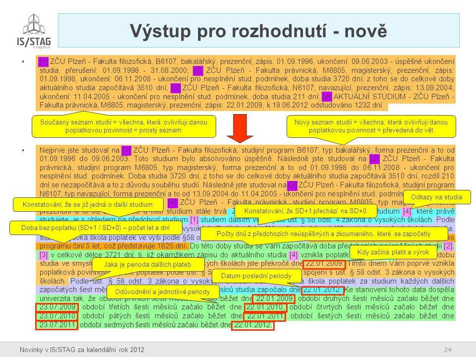 24 Novinky v IS/STAG za kalendářní rok 2012 Výstup pro rozhodnutí - nově [1] ZČU Plzeň - Fakulta filozofická, B6107, bakalářský, prezenční, zápis: 01.