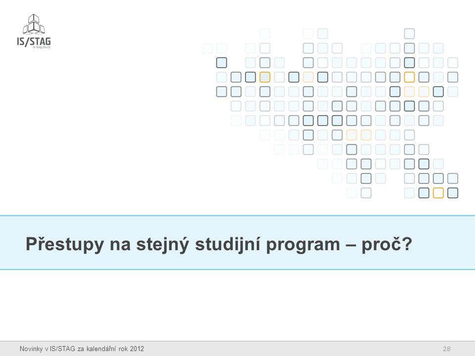 28 Novinky v IS/STAG za kalendářní rok 2012 Přestupy na stejný studijní program – proč?