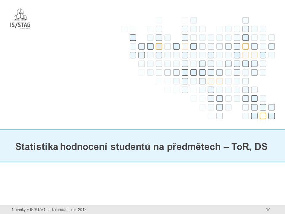 30 Novinky v IS/STAG za kalendářní rok 2012 Statistika hodnocení studentů na předmětech – ToR, DS