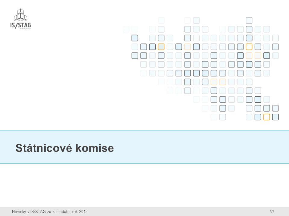 33 Novinky v IS/STAG za kalendářní rok 2012 Státnicové komise