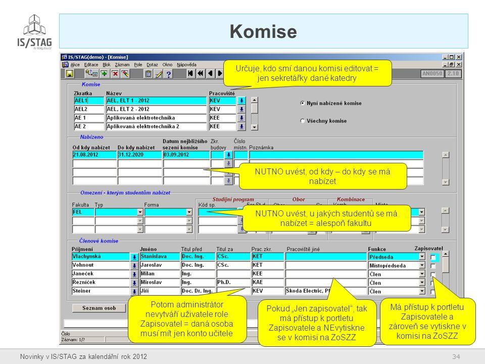 34 Novinky v IS/STAG za kalendářní rok 2012 Komise NUTNO uvést, od kdy – do kdy se má nabízet NUTNO uvést, u jakých studentů se má nabízet = alespoň f