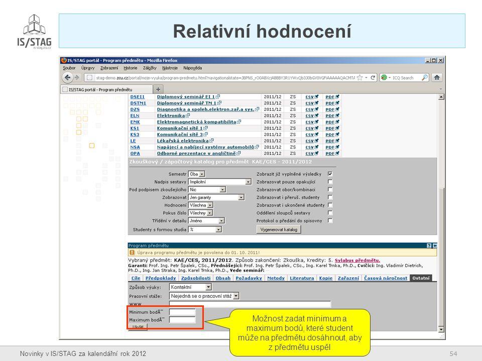 54 Novinky v IS/STAG za kalendářní rok 2012 Relativní hodnocení Možnost zadat minimum a maximum bodů, které student může na předmětu dosáhnout, aby z