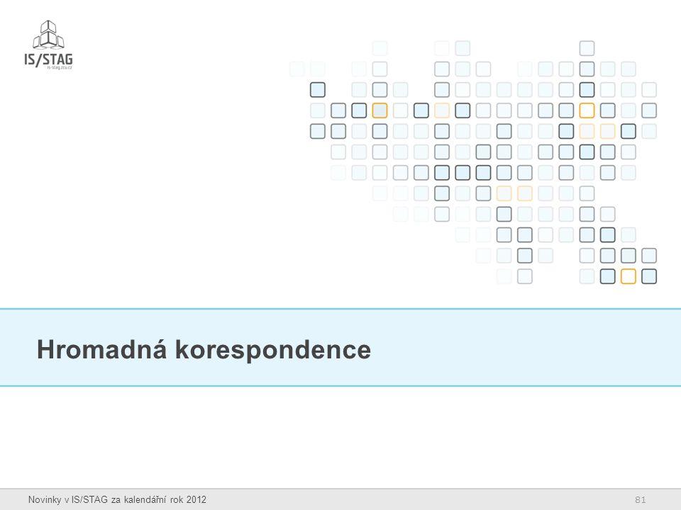 81 Novinky v IS/STAG za kalendářní rok 2012 Hromadná korespondence