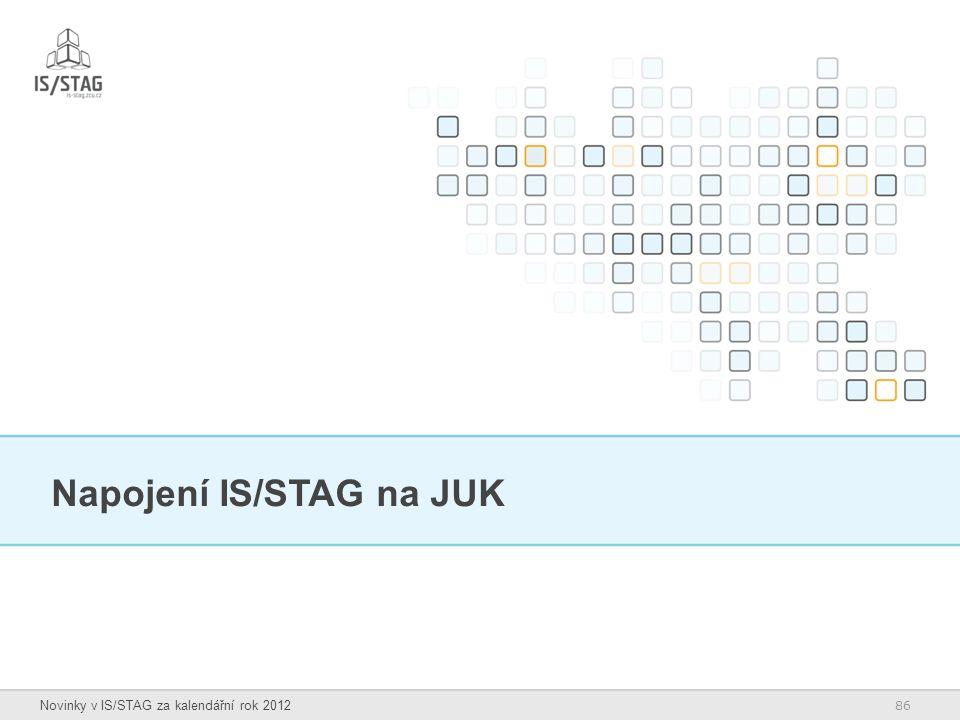 86 Novinky v IS/STAG za kalendářní rok 2012 Napojení IS/STAG na JUK