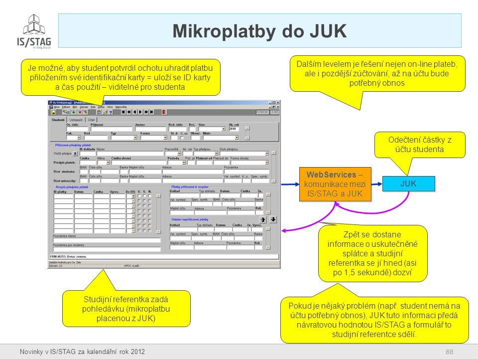 88 Novinky v IS/STAG za kalendářní rok 2012 Mikroplatby do JUK WebServices – komunikace mezi IS/STAG a JUK JUK Studijní referentka zadá pohledávku (mi